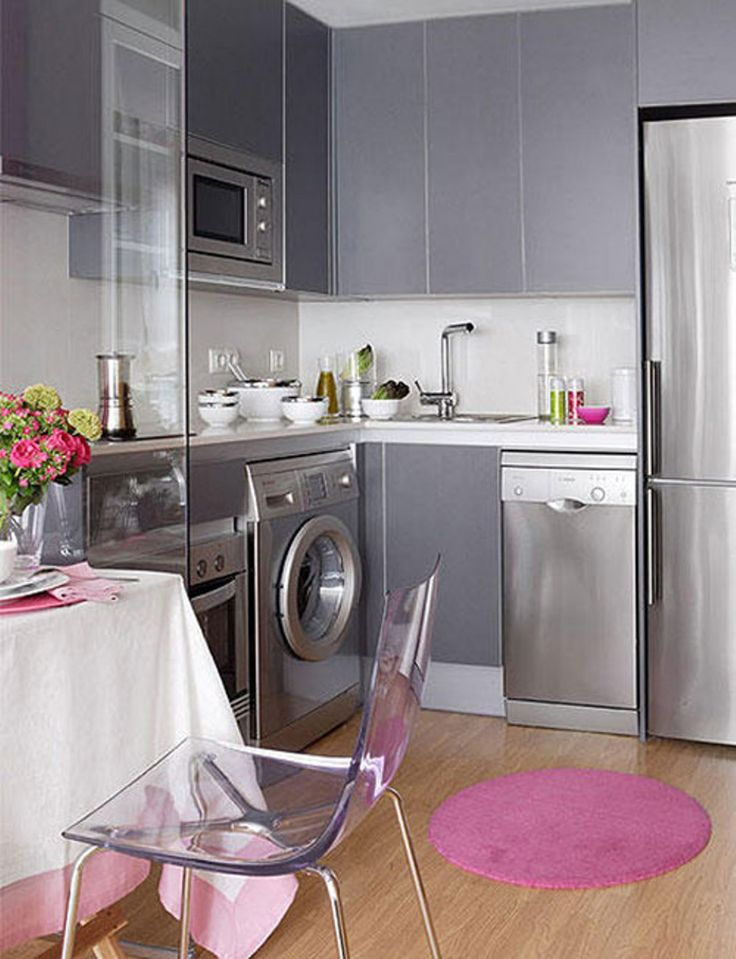 Inspirational Laundry in Kitchen Design ideas for Small Spaces: glass chair with round rug plus outstanding laundry in kitchen design ideas also grey cabinets and bottom freezer