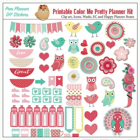 Color Me Pretty Printable Planner Stickers by DigiScrapDelights #plannerlove #planneraddict #plannerstickers #printable #spring