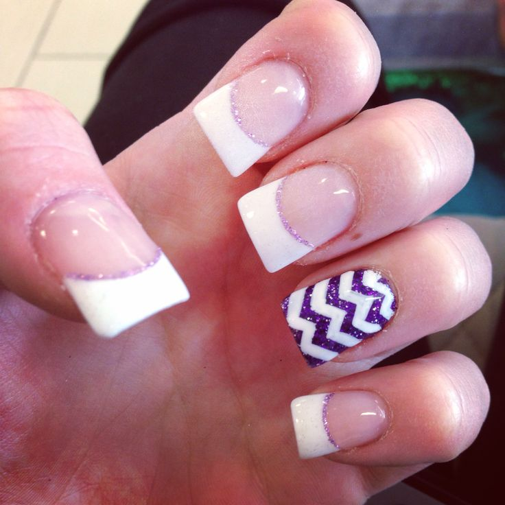 White French tips with a purple and white design on acrylic nails - Best 25+ White French Tip Ideas On Pinterest Colored Nail Tips