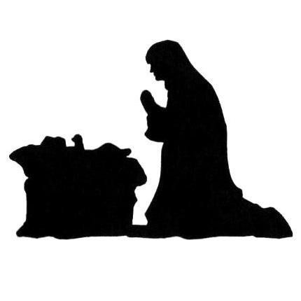 Manger Scene Silhouette Unmounted Rubber Stamp Mary And