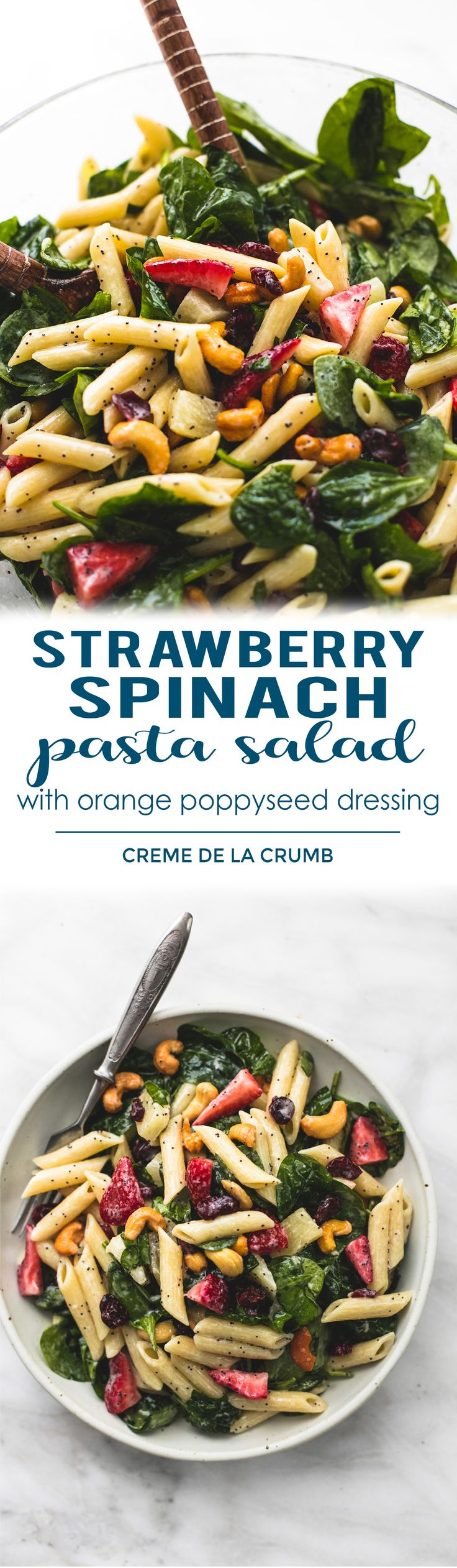 Sweet and tangy strawberry spinach pasta salad with orange poppyseed dressing with pineapple, cashews, and tart cranberries is the perfect potluck side dish for every get together.  | lecremedelacrumb.com