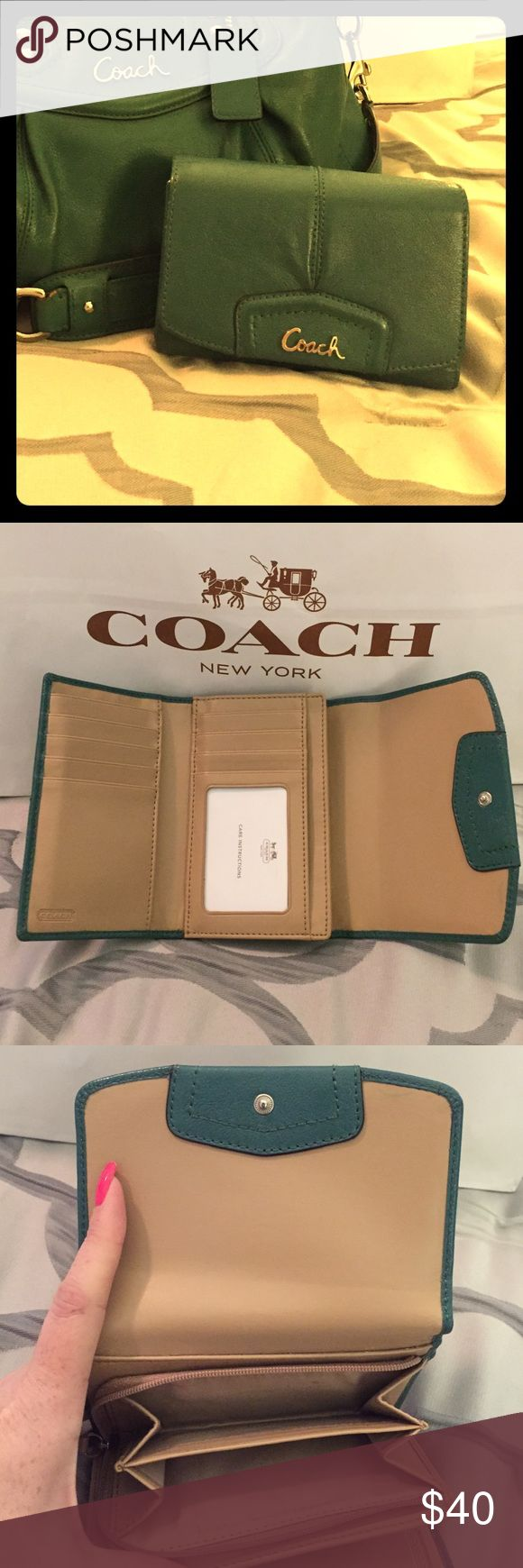 COACH Emerald Green bi-fold leather wallet Beautiful pre-loved emerald green bi fold wallet with silver hardware and snap closure. Back exterior slip pocket. Interior expandable zip pocket. 2 slip pocket. 8 credit card slots and 1 ID pocket. Wallet is 6 x 4 1/2 closed. Interior zip pocket has slight stain from change. There is also a very faint pen mark by interior snap. (Both shown in pic). *****matching purse NOT included, but available in other listing. Coach Bags Wallets