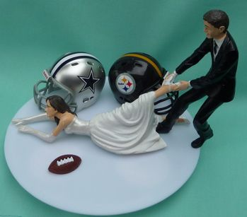 TEAM RIVALRY House Divided Humorous Wedding Cake Topper - Pick Your Two Sports Teams or Schools