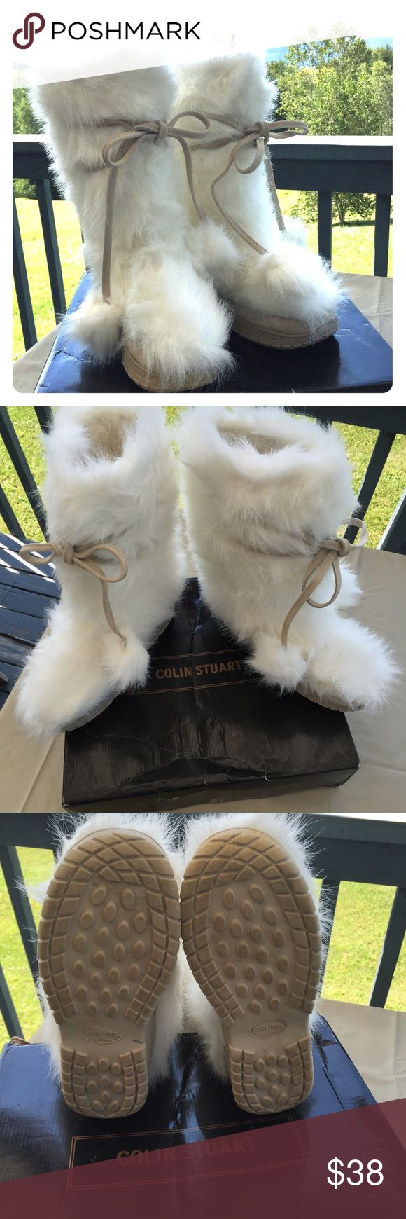 Colin Stuart Fuzzy Boots White Faux Fur Colin Stuart boots ladies 10. Super Warm & Cozy boots with fluffy fuzzy lining. Decorative white Pom Pom ties. They look amazing with leggings or skinny jeans!!! Purchased from Victoria's Secret. Excellent for winter! Great condition!  Colin Stuart Shoes Winter & Rain Boots