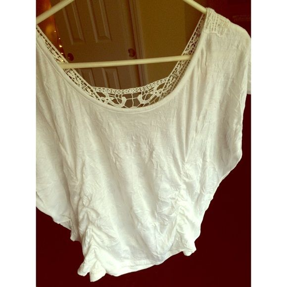 White batwing top White batwing top with crochet design on the back Tops Blouses
