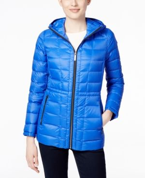 Michael Michael Kors Petite Hooded Packable Down Puffer Coat, Only at Macy's - Blue P/XS