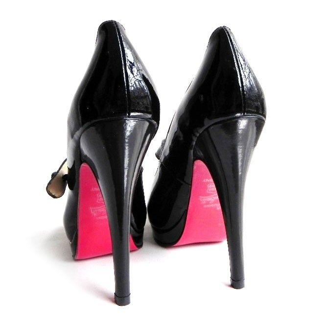 Chaussure Louboutin Pas Cher Mary Jane Pompe Noire Open-toes Plates-formes  en Cuir a14d263336ae