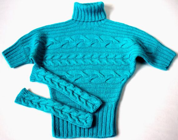 Turquoise knitted sweater-Turquoise Mittens-hand knitted women sweater-Sweater and Mittens-Wool sweater-Women sweater-Handmade sweater-S-M