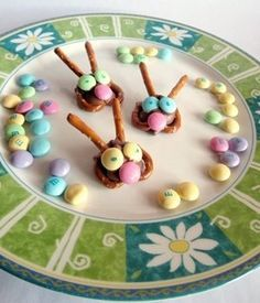 Easter Bunny Pretzel Treats -   Mini pretzels  Stick pretzels  Hershey's Kisses  Pastel M  Food Coloring Pens (for eyes)