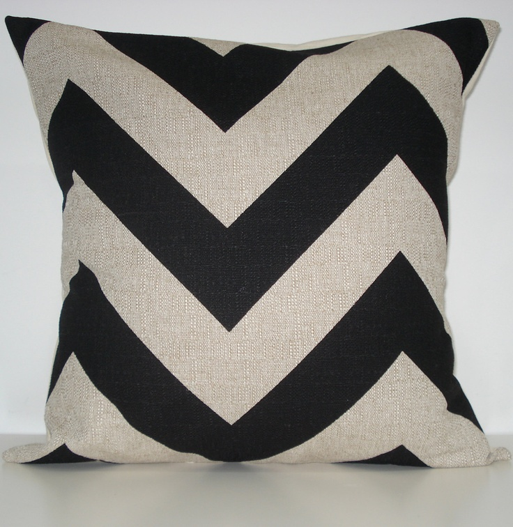 New 18x18 inch Designer Handmade Pillow Cases in large scale black and natural chevron, zig zag pattern. $20.00, via Etsy.