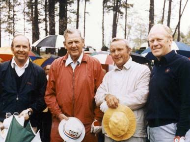 """Famous visitors to the Country Club of Birmingham, from left: club member and U.S. Golf Association Boardman Elbert Jemison, University of Alabama football coach Paul """"Bear"""" Bryant, professional golf legend Arnold Palmer, and President Gerald Ford."""
