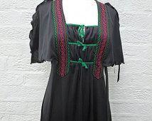 Festival jurk zwarte jaren 1960 kleren hippie 60s jurk petite hippie jurk preppy kleding maat 10 jurk maxi zwarte lange jurk womens 60s cadeau