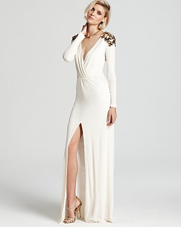 BCBGMAXAZRIA Wrap Gown - Anna Long Sleeve Embellished   Bloomingdale's