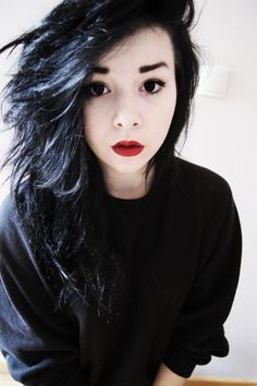 Girl with black hair and red lips
