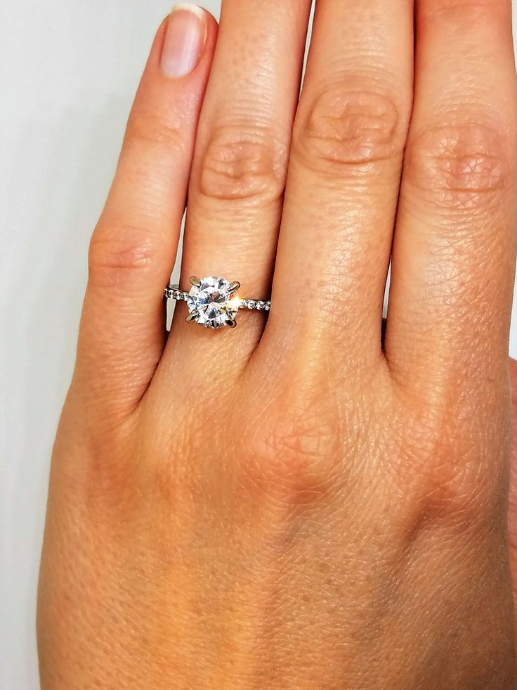 GIA certified 1.22 tcw Round Brilliant Diamond Engagement Ring 14k wg w/ Pave Diamonds