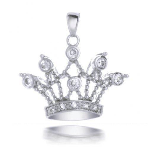 Bling Jewelry Sterling Silver Bezel Setting CZ Royal Crown Pendant