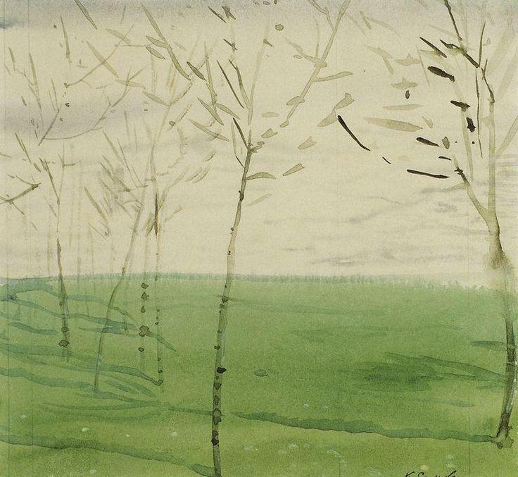 Paysage de printemps, crayon de Konstantin Somov (1869-1939, Russia)