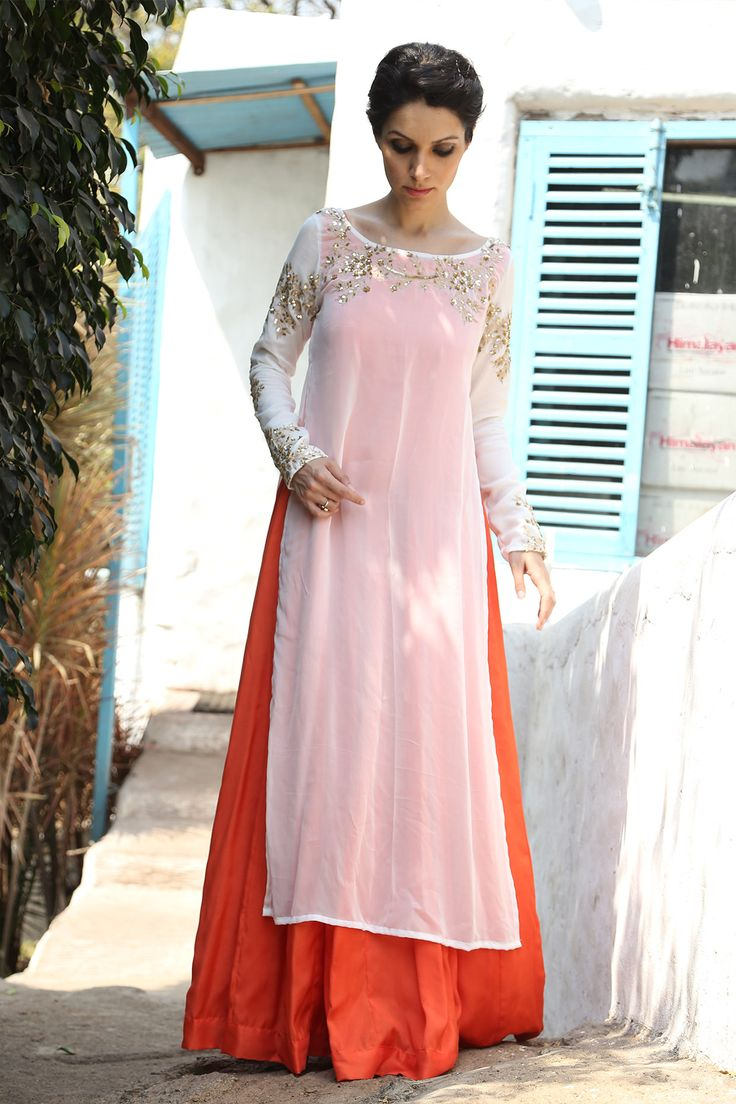 Prathyusha Garimella Red #Lehenga With Long Light Pink #Kurta Top.