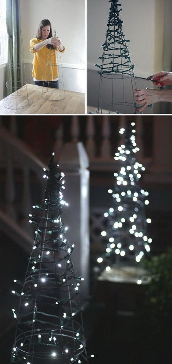 DIY Tomato Cage Christmas Tree Lights. Create a magical forest scene with this DIY tomato cage Christmas trees in your front yard! It is a colorful and eye catching way to show your holiday spirit with this easy project.