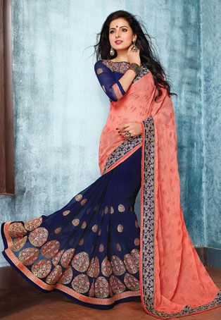Saree with an amazing combination of navy blue and peach colour, border work and front decorated with the patch #embroidery.