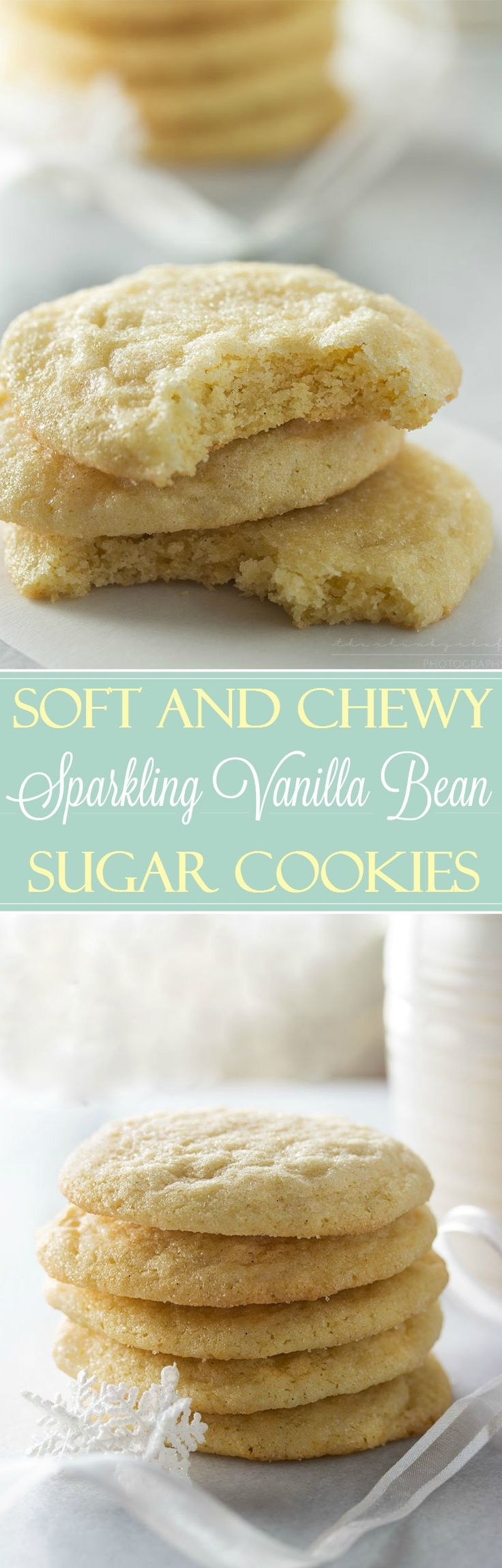 Soft Vanilla Bean Sugar Cookies | These vanilla bean sugar cookies are rolled in sugar for a sparkling appearance and a soft, light and chewy texture that will make these your new favorite!  #ABCookieSwap