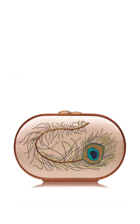 Peacock Feather Embroidered Oval Bag by Katrin Langer for Preorder on Moda Operandi