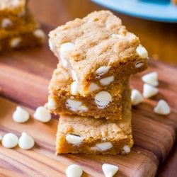 ... perfect Biscoff Blondie recipe! With loads of white chocolate inside
