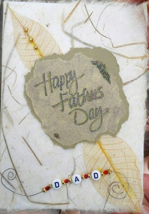 Father's Day card using handmade paper, rubber stamping with a bleaching technique  and leaves.