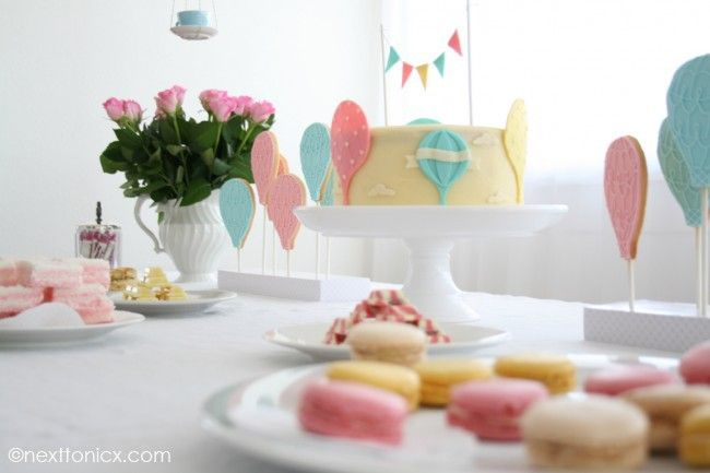 Pastel Hot Air Balloon Baby Shower Dessert Table.