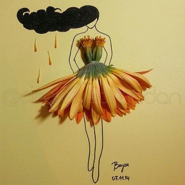 Sanatlı Bi Blog Çiçeklerle Minyatür Kadın Elbiseleri Oluşturan Sanatçı: 'Beyza Gonca Güner' 12