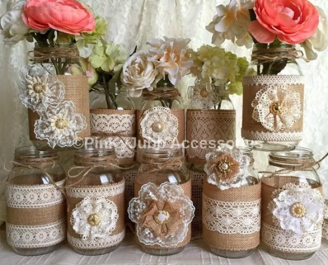 10x natural color lace and burlap covered mason jar vases, wedding, bridal shower, baby shower decoration. I made this adorable vases with natural color burlap and natural color cotton and ivory color laces, handmade lace flowers, plastic buttons.