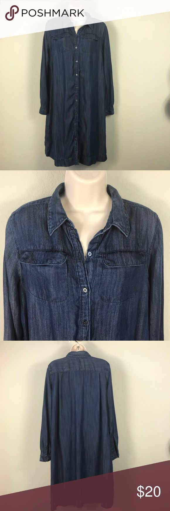 Ann Taylor Loft dark denim chambray shirtdress Ann Taylor LOFT dark blue chambray with slight metallic sheen button front shirtdress with two front pockets. Size says M but fits oversized. Missing belt, great condition otherwise. LOFT Dresses