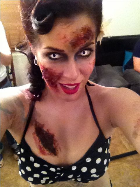 Sexy Zombie makeup Idea / Pair with white zombie contact lenses to complete the look ~ http://www.pinterest.com/pin/350717889705763104/