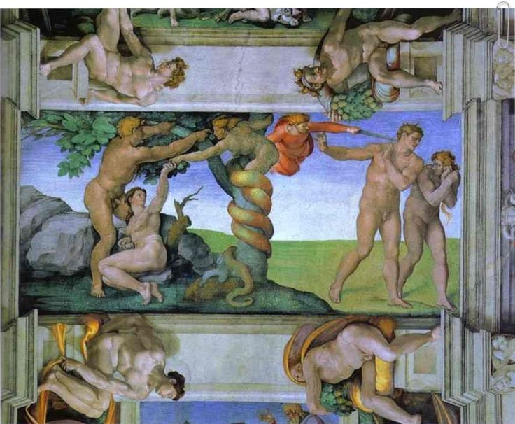 The Fall of Man and the Expulsion from the Garden of Eden by Michelangelo