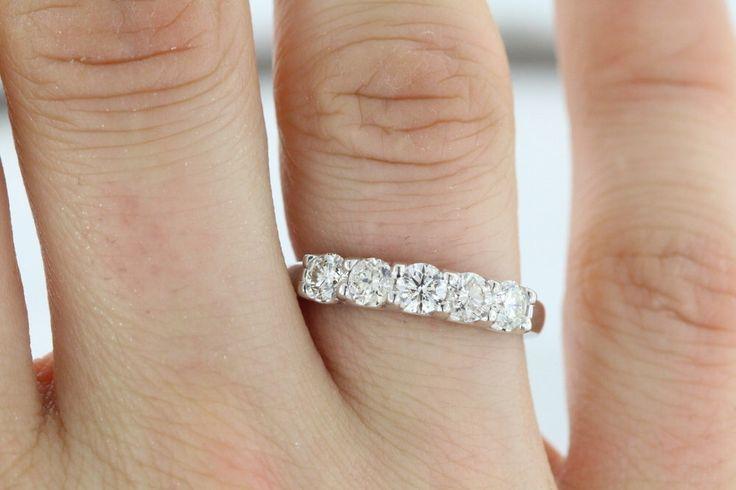 5Diam-1.00 ct F VS2 Diamant Ehering 5Stone U-Form Prong 14 k Weissgold Einstellung Ring Damen Jubiläum Band von JewelryULovebyAby auf Etsy https://www.etsy.com/de/listing/221511004/5diam-100-ct-f-vs2-diamant-ehering