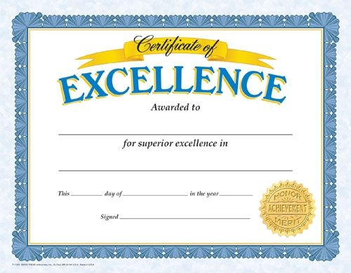 Certificate of Excellence. Reward your students for their special achievements!