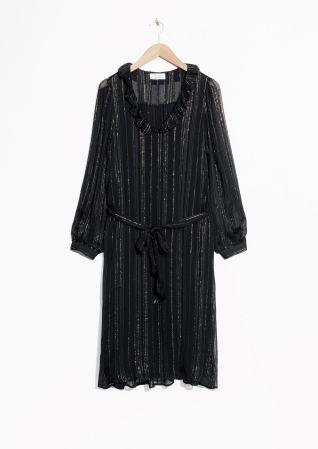 & Other Stories | Metallic Stripes Frill Dress