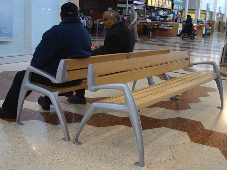 PANCHINA IN ALLUMINIO E LEGNO CON SCHIENALE MANTIS BY FACTORY FURNITURE