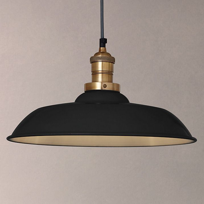 Buy John Lewis Croft Collection Clyde Brass Trim Ceiling Pendant Light, Black Online at johnlewis.com