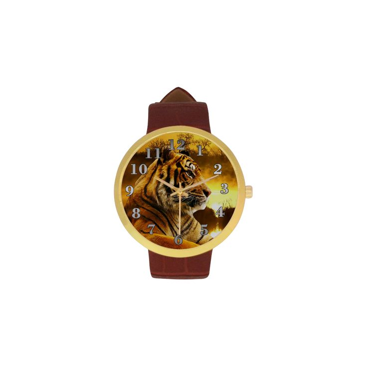 Tiger and Sunset Women's Golden Leather Strap Watch