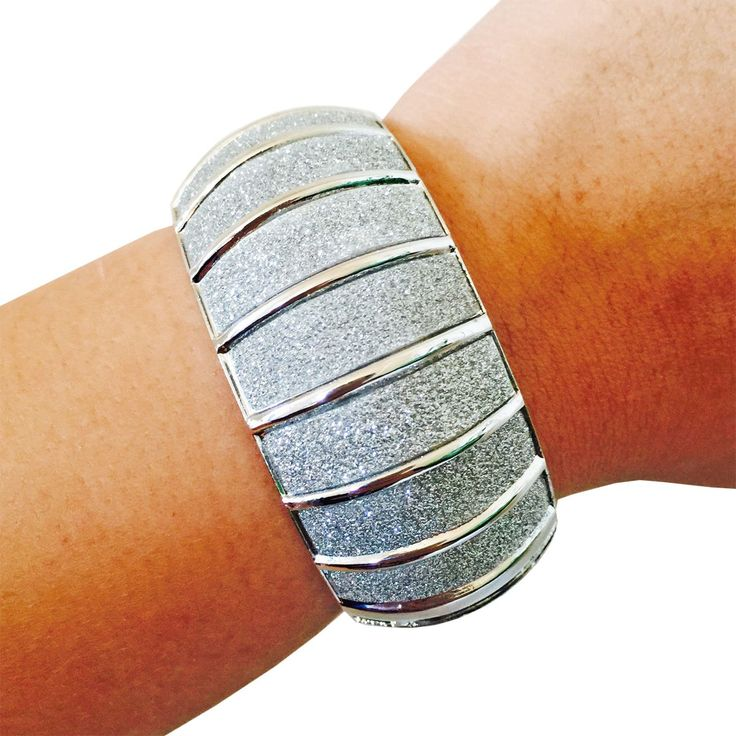 Activity Tracker Bracelet for FitBit Flex, Fitbit Charge, Charge HR, Misfit Shine, Misfit Flash, Garmin VivoFit, Jawbone Move or Jawbone Up Fitness Trackers - The LITTLE PRINCESS Silver Glitter Hinge Bangle Bracelet by FUNKtional Wearables