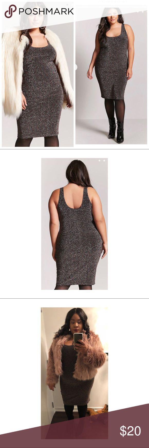 Metallic Bodycon Dress Plus size bulk/multi metallic bodycon dress worn once. Size 3X Forever 21 Dresses