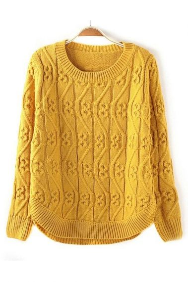 GORGEOUS Vintage Vertical Twisting Wave Yellow Pullover Sweater #gorgeous…