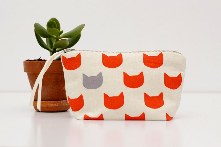 Ginger cats grey pouch - screen printed and handmade. $19.00, via Etsy.