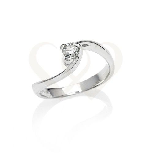 Fehér arany eljegyzési szoliter gyémánt gyűrű.  Gyémánt 0,23 CT. // White gold engagement solitaire ring with 0,23 CT diamond.