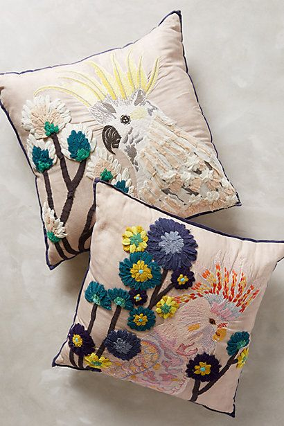 Embroidered Cockatoo Pillow - anthropologie.com