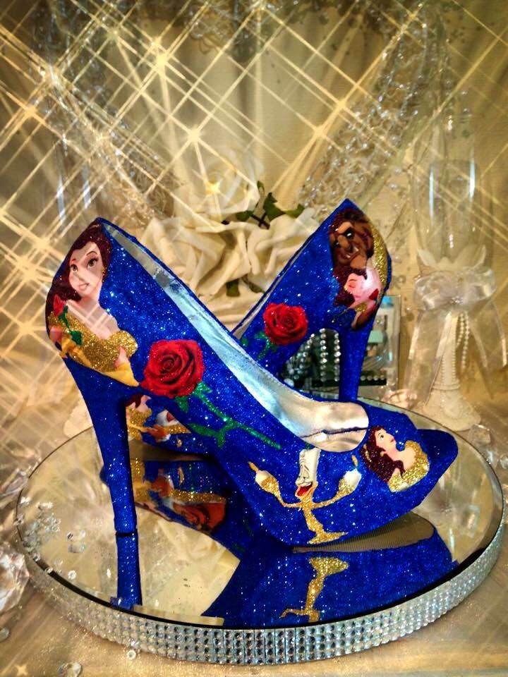 Disney beauty and the beast wedding shoes heels