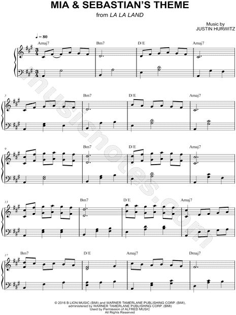 Print and download Mia & Sebastian's Theme sheet music from La La Land arranged for Piano. Instrumental Solo, and Piano/Chords in A Major.