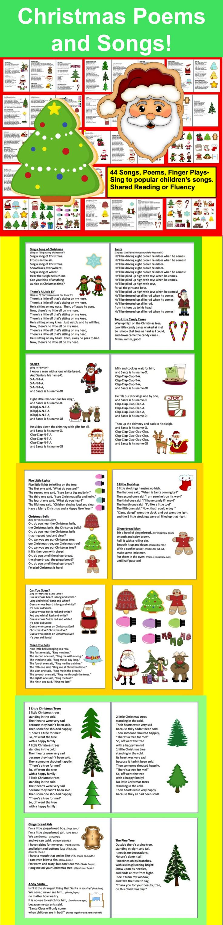 $3.00 Christmas Poems/Songs/Finger Plays and Chants –  36 page file –  All Illustrated with Christmas Graphics- 46 Songs/Poems/Finger Plays and Chants- Prints nicely in color or grayscale- Just choose those you like, and print just those pages.
