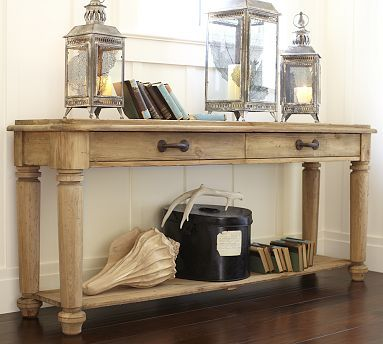 Hamilton Reclaimed Wood Console Table #potterybarn: Potterybarn, Entry Tables, Reclaimed Wood, Consoles Tables, Sofas Tables, Wood Consoles, Lanterns, Console Tables, Pottery Barns